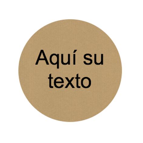 Etiqueta kraft adhesiva redonda, personalizada con su texto en negro