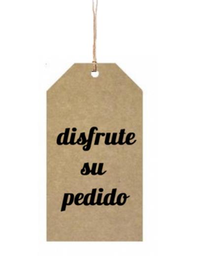 """Etiqueta de cartón impresa """"Hecho en España"""", 5x9 """"Disfrute su Pedido"""""""