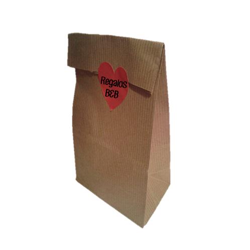 Bolsa sin Asas Kraft con etiqueta adhesiva PERSONALIZADA corazón rojo