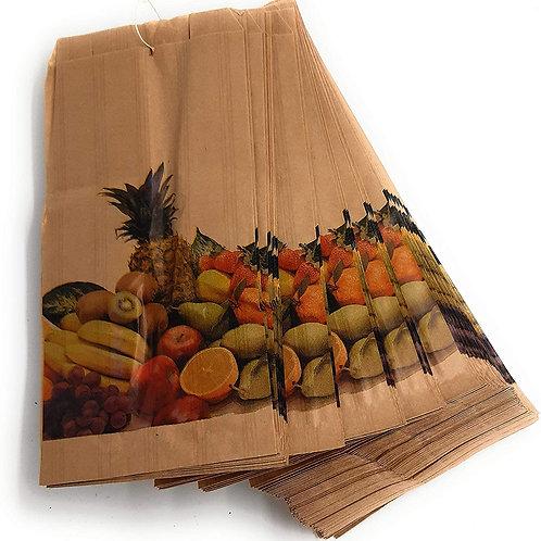 Bolsa para frutería Kraft antihumedad (atadas) 14 + 7 x 29
