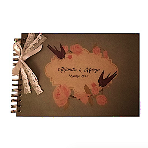 Libro de firmas retro para boda, personalizado