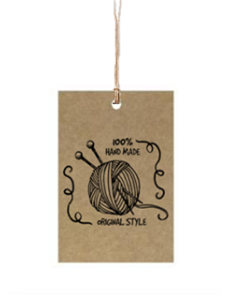 """Etiqueta de cartón impresa """"100% Hand Made"""", 4x6 cm"""
