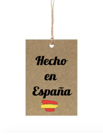 """Etiqueta de cartón impresa """"Hecho en España"""", 4x6 cm"""