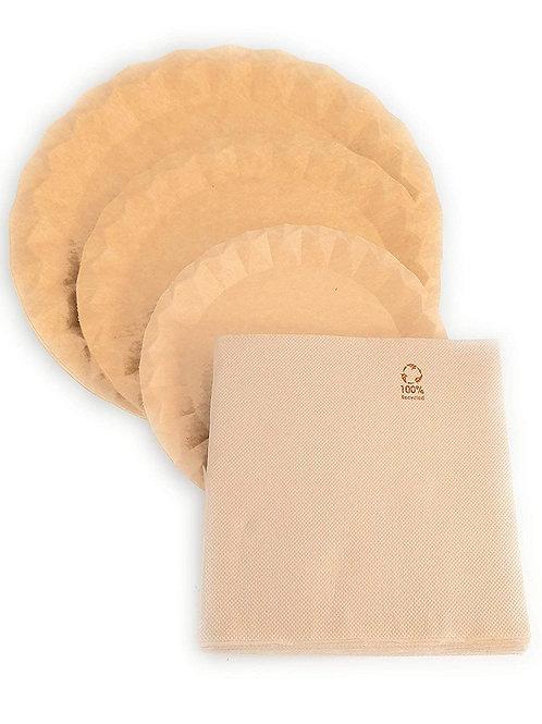 Conjunto de 40 Platos cartón kraft varios tamaños y 50 servilletas kraft