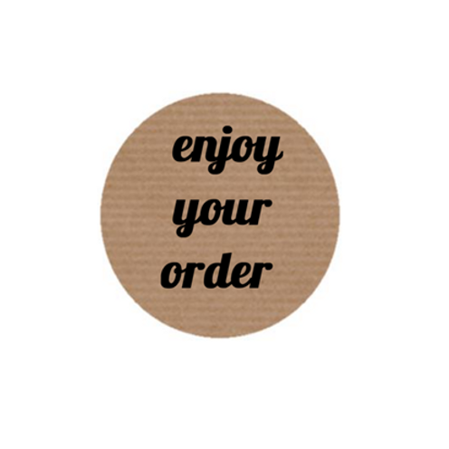 "100 Etiquetas adhesivas ""Enjoy your order"""