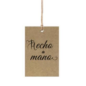 """Etiqueta de cartón impresa """"Hecho a Mano"""", 4x6 cm"""
