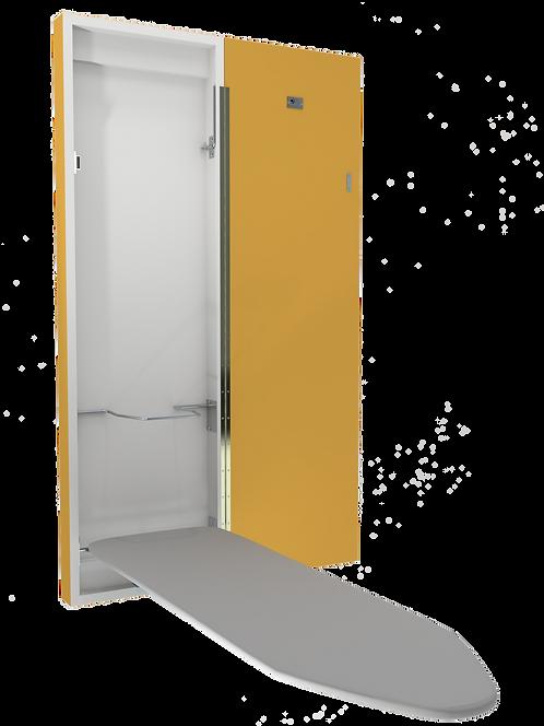 Planche à repasser murale de luxe avec armoire jaune (c. RGB 227,174,75)