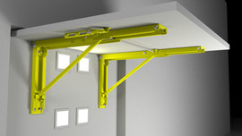Folding Bracket in recess Yellow on Grey