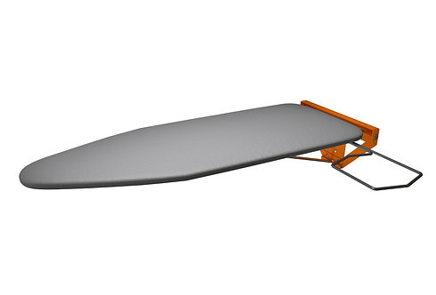 Compact Wall Mounted Ironing Board with Orange (RAL 2011) Mounting Plate
