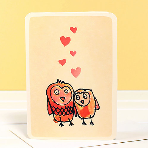 OWLS IN LOVE CARD x 6