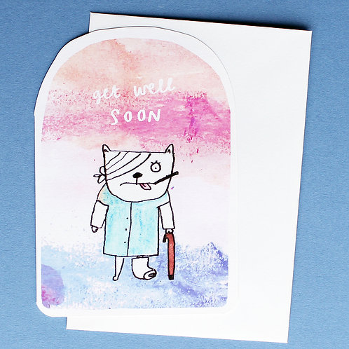 GET WELL SOON CAT CARD x6