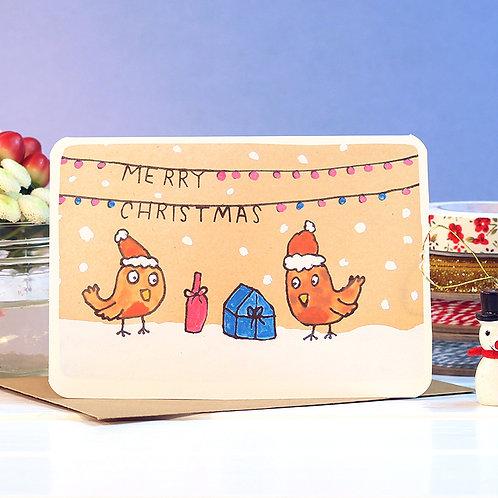 TWO ROBINS CHRISTMAS CARD  x 6