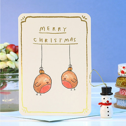 MERRY CHRISTMAS GOLD FOIL ROBIN BAUBLES CARD  x 6