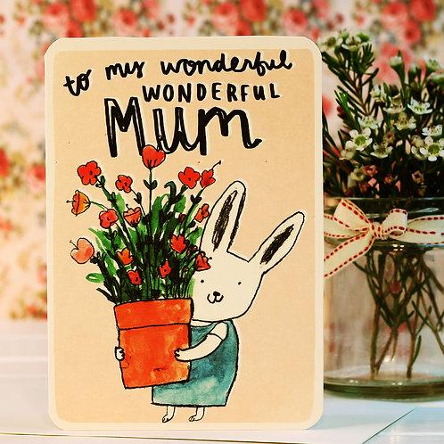 WONDERFUL MUM FLOWERS CARD x 6