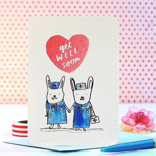GET WELL SOON BUNNIES CARD x 6