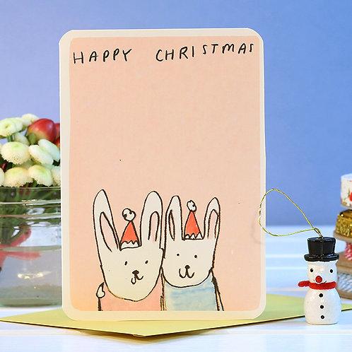 TWO BUNNIES CHRISTMAS CARD x 6