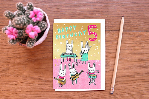 FIVE TODAY! BUNNY BAND BIRTHDAY CARD x 6