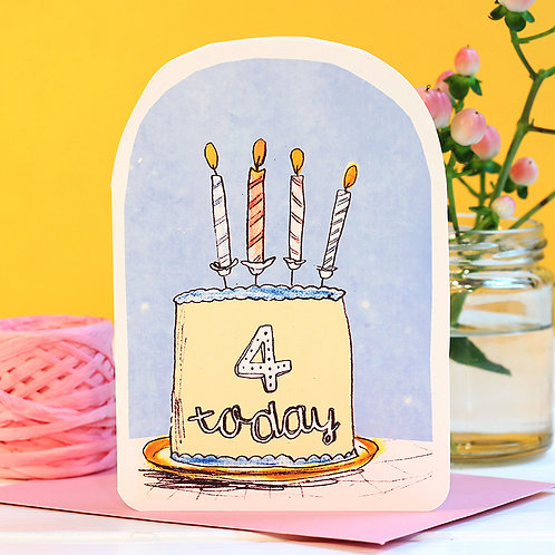 FOUR TODAY BIRTHDAY CANDLE CARD x 6