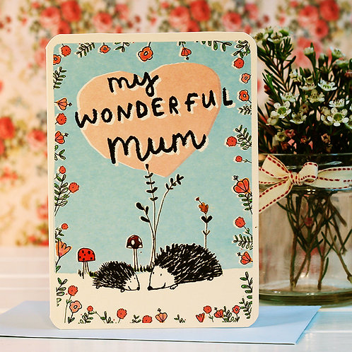 MUM HEDGEHOGS CARD x 6