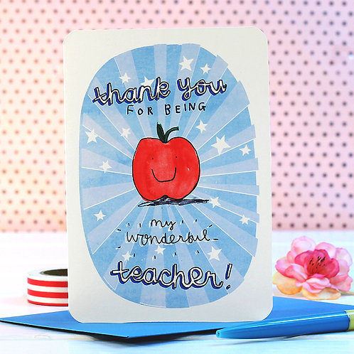 WONDERFUL TEACHER CARD x 6