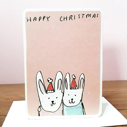 BUNNY COUPLE CHRISTMAS CARD
