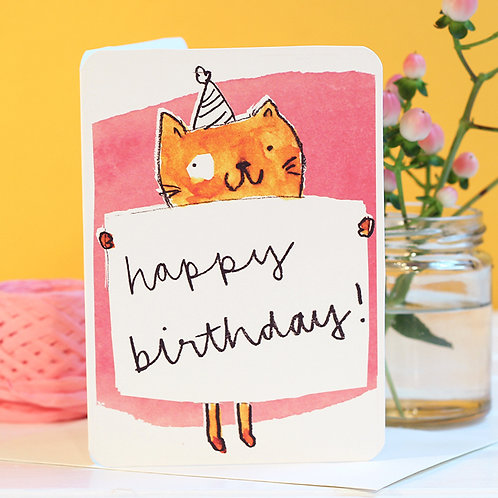 CAT POSTER HAPPY BIRTHDAY CARD