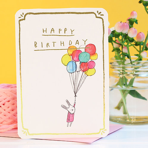 BIRTHDAY BUNNY BALLOONS CARD with GOLD FOIL