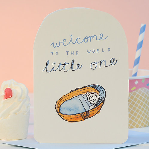 WELCOME LITTLE ONE BLUE CARD x 6