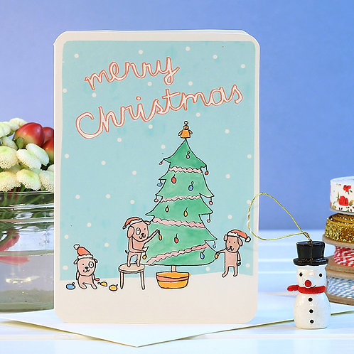 MERRY CHRISTMAS DOGS TREE CARD  x 6