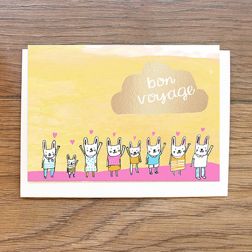 BON VOYAGE, GOLD FOILED BUNNIES CARD