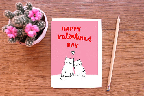 HAPPY VALENTINES DAY CATS CARD  x 6