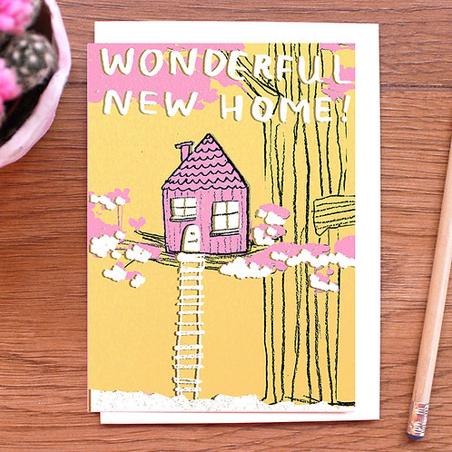 WONDERFUL NEW HOME, GOLD FOILED TREEHOUSE CARD