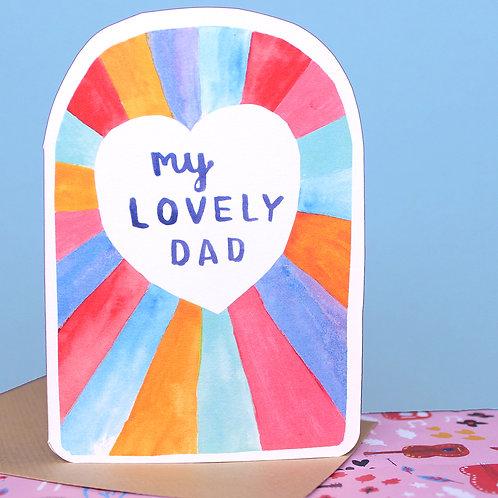MY LOVELY DAD RAINBOW HEART x 6