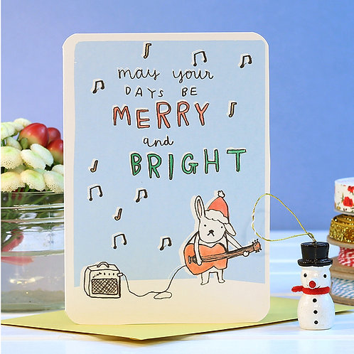 MERRY AND BRIGHT CHRISTMAS CARD  x 6