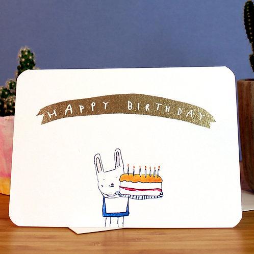 GOLD BUNNY CAKE CARD