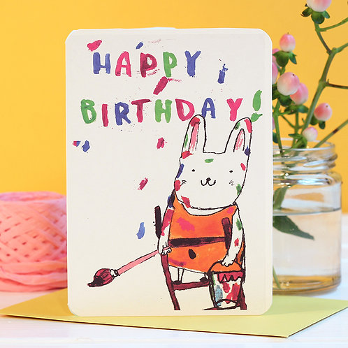 HAPPY BIRTHDAY PAINTING CAT CARD