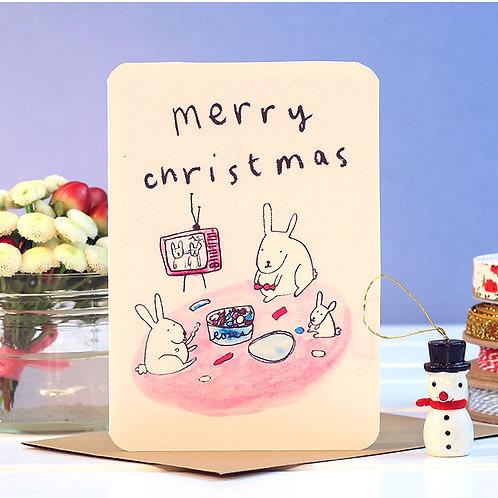 TV BUNNIES CHRISTMAS CARD  x 6