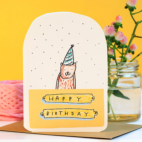 BEAR HAT BIRTHDAY CARD x 6