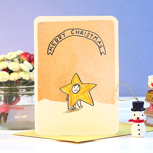 MERRY CHRISTMAS STAR CARD  x 6