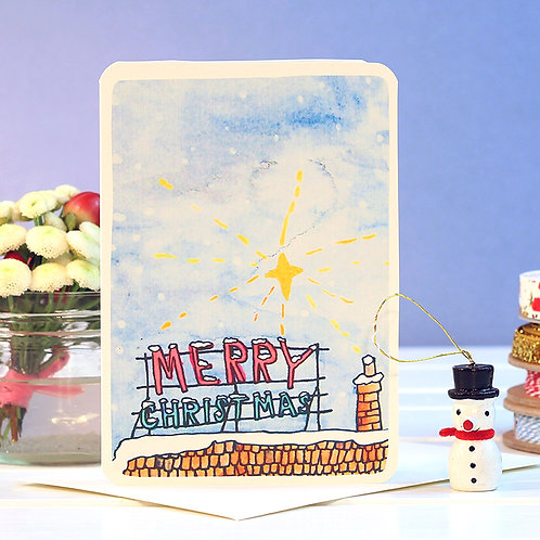 MERRY CHRISTMAS ROOF SIGN CARD  x 6