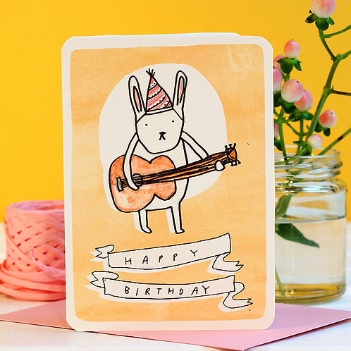 GUITAR BUNNY BIRTHDAY CARD x 6