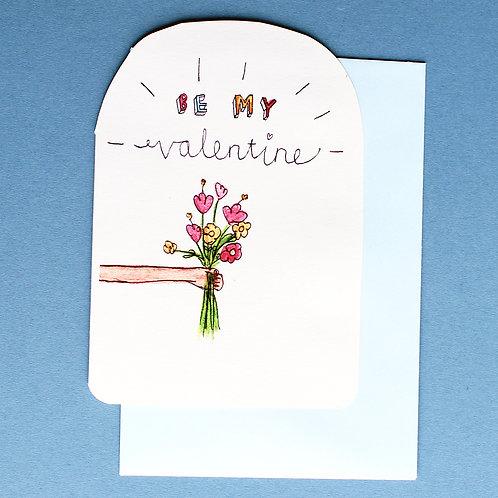 BE MY VALENTINE CARD x6
