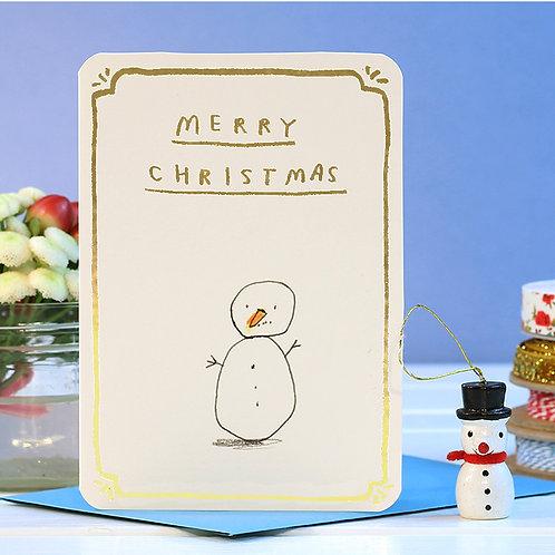 MERRY CHRISTMAS GOLD FOIL SNOWMAN CARD  x 6