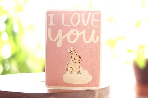 CLOUD BUNNY LOVE YOU CARD x6