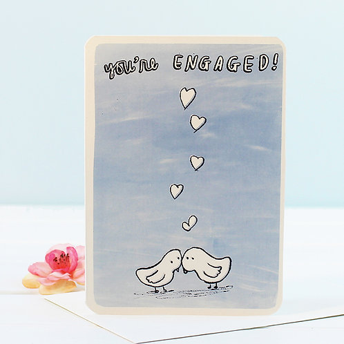 You're Engaged Love Birds Card x 6