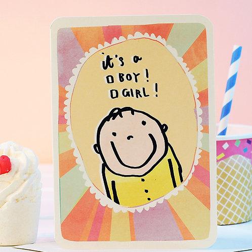 IT'S A BOY / GIRL CARD x 6