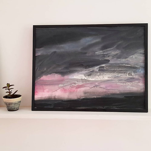 Wild Skies - Acrylic on Paper - Framed
