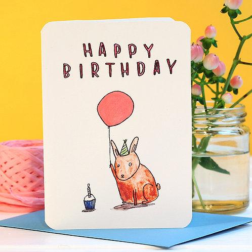 HAPPY BIRTHDAY BUNNY CARD x 6