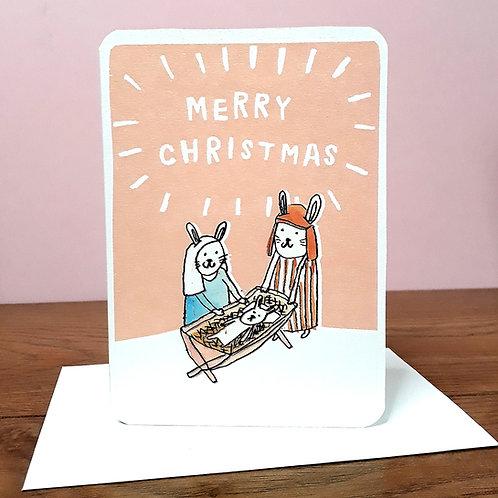JESUS MARY AND JOSEPH BUNNIES CHRISTMAS CARD