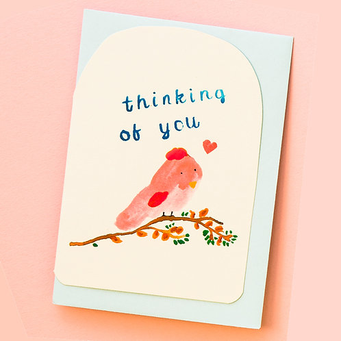 THINKING OF YOU BIRD CARD x 6